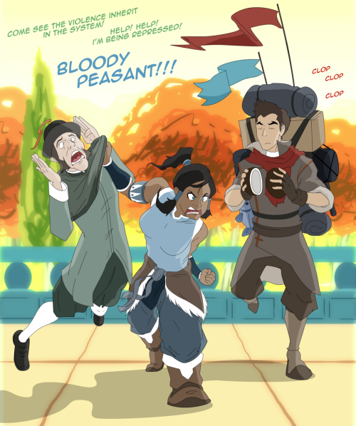 innerpalindrome:  swagmunculus:  Korra and Mako and Peasant by *Trotsworth  PERFECT OH SHIT MAKO I AM DYING