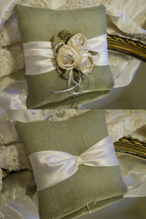 Ring Bearer Pillow from the Vintage Diamond Rosette Collection, handmade of sage muslin, ivory satin, pearls.
