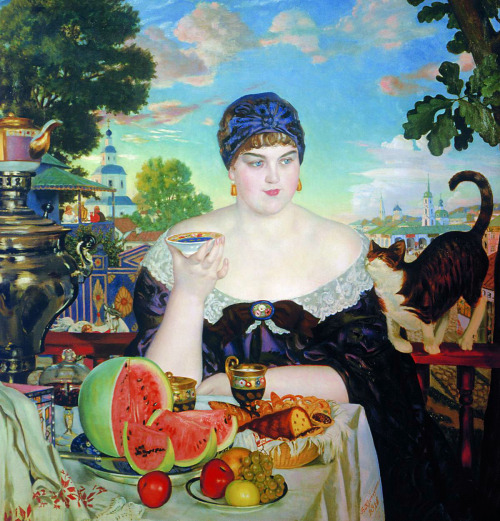 "The Merchant's WifeBoris Kustodiev1918oil on canvas CLICK IMAGE FOR FULL SIZE! I found this on the wikipedia page about samovars, doing research for better all day tea-swilling solutions.  I love everything about it—the giant classically-Russian woman, the neon palette, the cat engaged in such a familiar cat gesture—of rubbing his face on you in hopes of charming you into sharing your lunch, the people having tea in a distant balcony, the man wrangling a proud white horse in the street below, the bizarre, seafoam sky.  The food looks absolutely sensual, the flavors perfectly produced in synaesthetic colors.  The rich, cold, smooth roundness of the melon recalling the same traits in the beautiful human subject.  I have never seen a more effective advertisement for sitting down to tea.  Boris Kustodiev was born in Astrakhan into the family of a professor of philosophy, history of literature, and logic at the local theological seminary.[1] His father died young, and all financial and material burdens fell on his mother's shoulders.[2] The Kustodiev family rented a small wing in a rich merchant's house. It was there that the boy's first impressions were formed of the way of life of the provincial merchant class. The artist later wrote, ""The whole tenor of the rich and plentiful merchant way of life was there right under my nose… It was like something out of an Ostrovsky play.""[2] The artist retained these childhood observations for years, recreating them later in oils and water-colours.[2]"