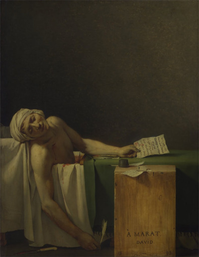 Jacques-Louis David, The Death of Marat, 1793 (Brussels, Belgium, Royal Museums of Fine Arts)  [David] took an active part in the French Revolution […]. During this time he painted his greatest picture, The Death of Marat. David's deep emotion has made a masterpiece from a subject that would have embarrassed a lesser artist. Marat, one of the political leaders of the Revolution, had been murdered in his bathtub. A painful skin condition required immersion, and he did his work there, with a wooden board serving as his desk. One day a young woman named Charlotte Corday burst in with a personal petition, and plunged a knife into his chest while he read it. David has composed the scene with a stark directness that is awe-inspiring. — A. F. Janson and H. W. Janson, A History of Art, p. 674-675