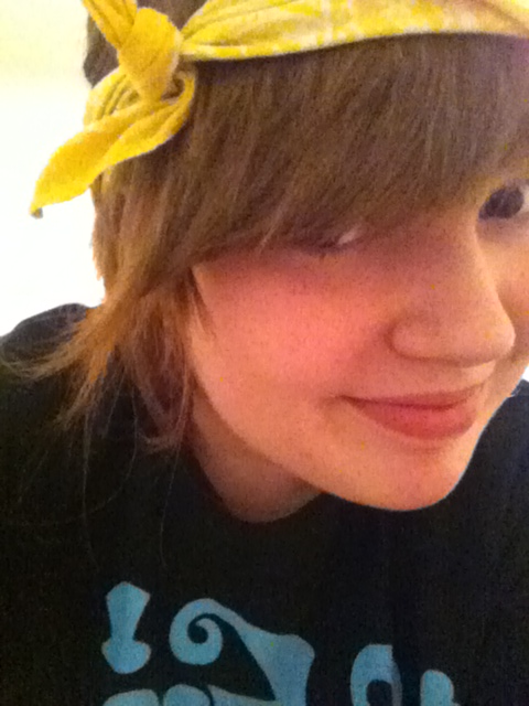 Being cute in the yellow bandana.