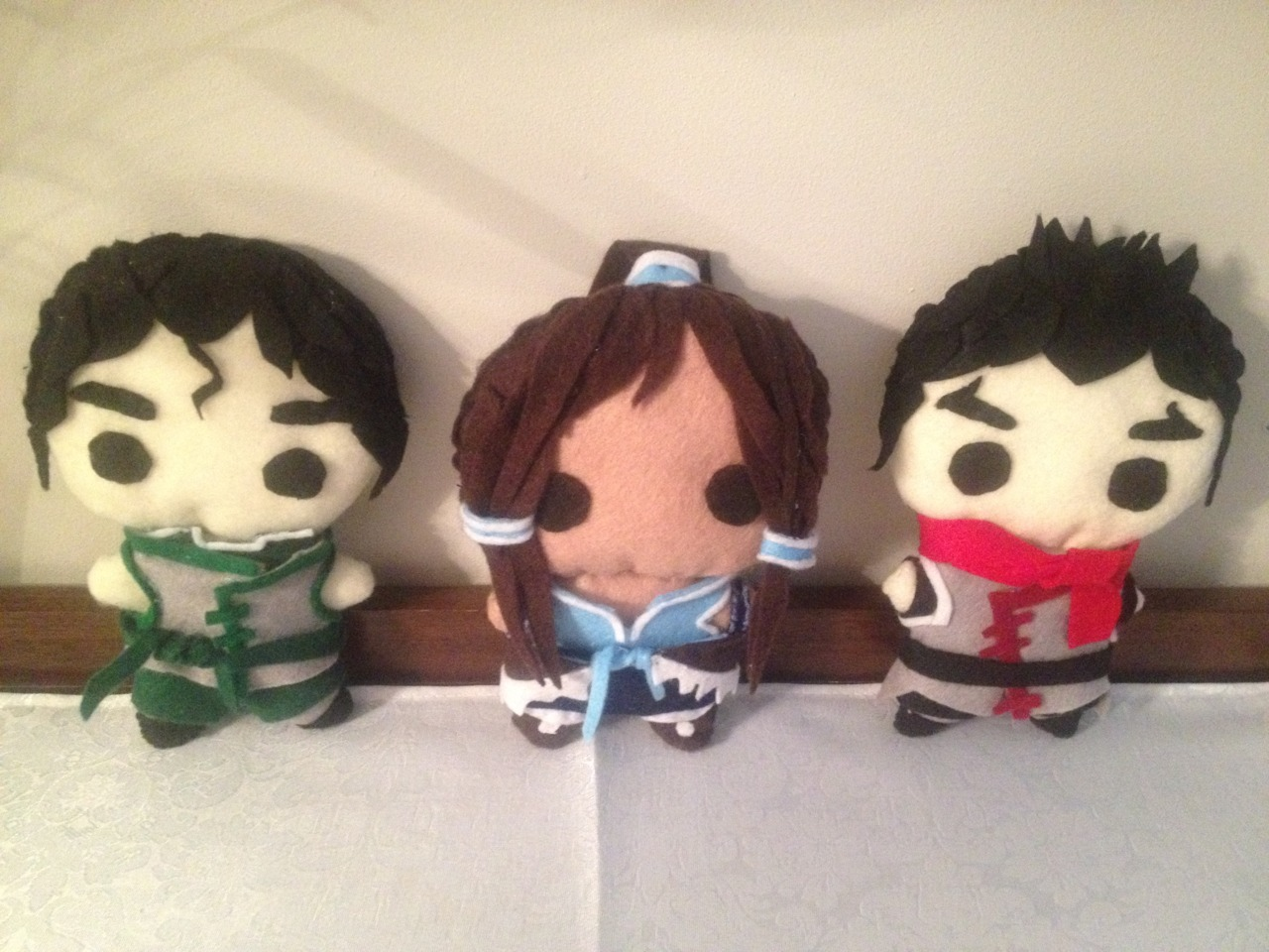 tea-nah:  Finished the Legend of Korra characters. Bolin, Korra and Mako I hope these little guys will be happy with their new owner :) I made them for my friend, and she loves them :) I might make some in the future of other characters (I might get some inspiration from the later episodes, and might make some doubles later) Hope you guys enjoy.