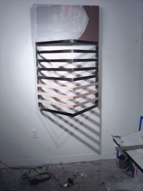 "30x48xsomething"", wood, corrugated plastic, cardboard, silk screen."