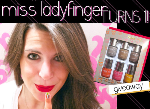 Happy Birthday Miss Ladyfinger ^_^  GIVEAWAY: MISS LADYFINGER TURNS ONE! A year ago today I decided to start a nail blog. Never in my wildest dreams did I imagine that it would take me on this incredible ride. I feel so humbled and I have you to thank. You guys rock. With that said, I am hosting a giveaway in honor of Miss Ladyfinger's birthday.   For a chance to win Nails Inc. Neon's and Nude mini collection, reblog a birthday wish to Miss Ladyfinger. The winner will be announced on May 1st.    Thank you, ladies!