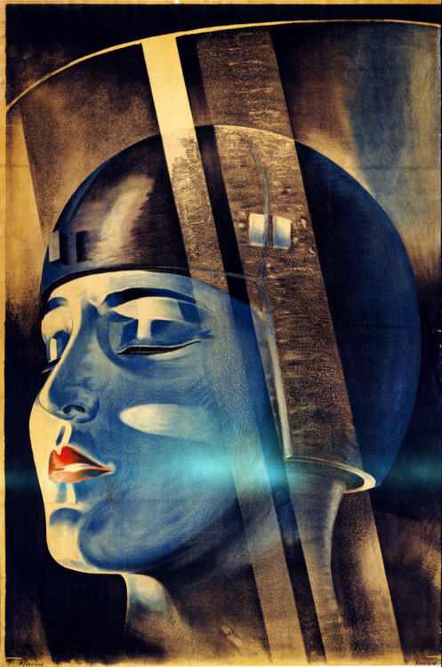 "zitterberg: Fritz Lang's Metropolis, movie poster, 1926 Poster for Fritz Lang's film ""Metropolis"" shows the character Maria in Rotwang's transformation machine. Signed ""Klebrand"", ca. 1926."