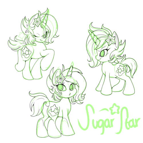 For the longest time, I wanted to redesign Sugar Star…and I think we have a winner ♥  She looks alot chibier though. I did that on purpose haha. It kinda looks similar to how I first drew her, like a year ago fjsdf  The only problem is that I don't know if I want to keep her old color scheme (similar to Ashiji's) or make a new one. Lately, I have been wanting to make her dark so that the bright colors could stand out more, but idk.  HALP ME