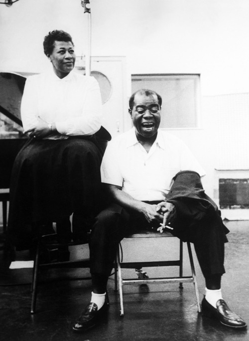 frankiemachines:  Ella Fitzgerald and Louis Armstrong in the studio, 1956