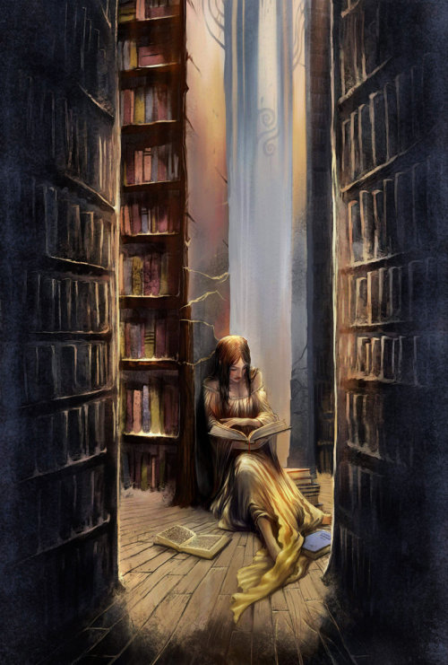 justcallmefae:  This is how I am often found in bookstores and libraries. Not the long flowing dress. Books piled up around me on the floor is what I mean. How else can You make a choice?