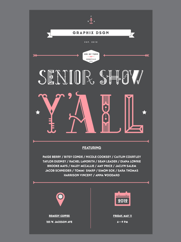 Check out UT's Senior GRAPHIX DSGN show! Friday, May 11th, @Remedy Coffee Facebook Event Website Their website is awesome and so are the people graduating!