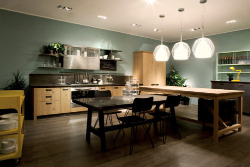 Diesel Social Kitchen by Scavolini The project's strength is not about style, but how it deals with shrinking urban conditions. Entertaining guests will not be confined to the living room anymore, but a room that combines the kitchen, dining, and living room.