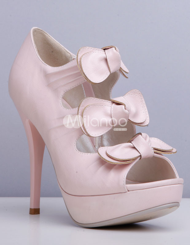 Pink Open Toe Bows Zip Closure PU Womens Dress Sandals from annanism.tumblr.com