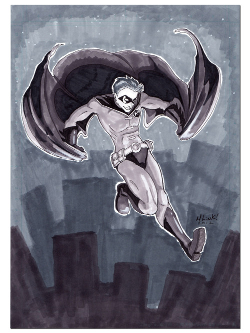 Timmy Tuesday Sketch Challenge #21! Robin Jump! by =Sakurafire Greyscale marker on comic paper, 1 hour. It's a little messy, but it was literally from blank sheet to 'finish' 1 hour before I had to go to school. =)