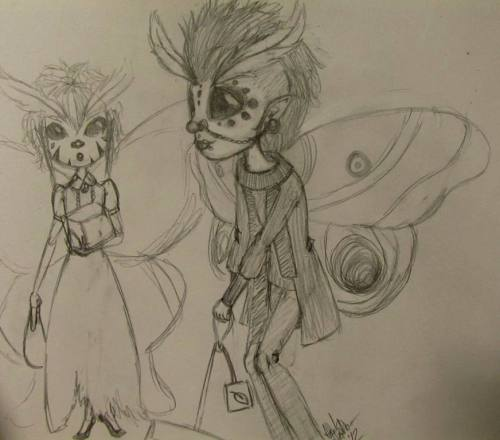 Work was reeeeeeeeeeeeally slow today so I drew some moth fairy people. The one on the right is supposed to look like/be Mister Joji. I hope that comes across hahaha. He's actually the one who inspired this because he's so tied to moths in my mind. I'm not sure if you can tell, but he's hauling a teabag with him. The one on the left's there because he needed a friend and someone to carry the sugar cubes for the tea. <3 Ahhhhhhh I hope people enjoy this, especially Joji if he gets to see this!