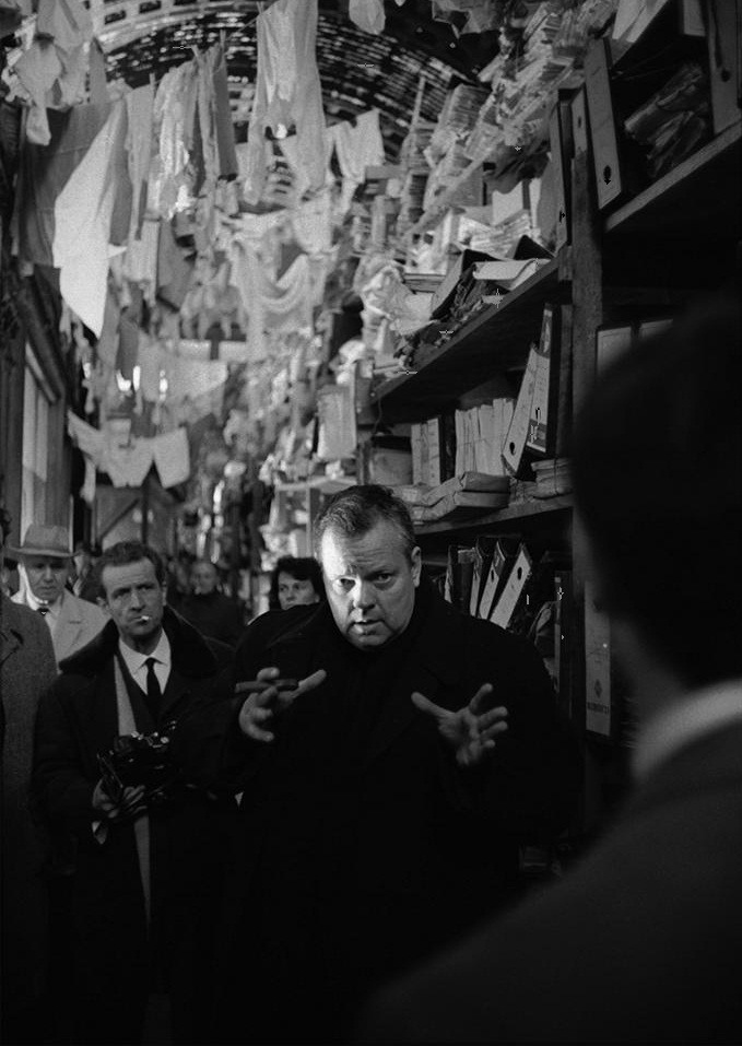 "oldhollywood:  Orson Welles directs Anthony Perkins on the set of The Trial (1962) Photo by Nicolas Tikhomiroff (via) Q. A critic who admires your work very much said that, in The Trial, you were repeating yourself… Welles: Exactly, I repeated myself. I believe we do it all the time. We always take up certain elements again. How can it be avoided? An actor's voice always has the same timbre and, consequently, he repeats himself. It is the same for a singer, a painter…There are always certain things that come back, for they are part of one's personality, of one's style. If these things didn't come into play, a personality would be so complex that it would become impossible to identify it. It is not my intention to repeat myself, but in my work there should certainly be references to what I have done in the past. Say what you will, but The Trial is the best film I ever made…I have never been so happy as when I made this film."" -excerpted from Orson Welles: Interviews"
