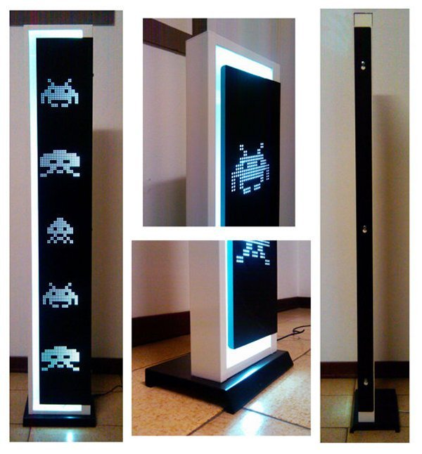 videogamenostalgia:  Check This Out: Awesome Space Invaders Floor Lamp Measuring at 47 inches tall and just under 8 inches wide, this really cool floor lamp is perfect for any geek-themed abode. Created by Etsy user pieromenetti and it will cost you $202.03 (USD). (via: Technabob)  That is one awesome lamp