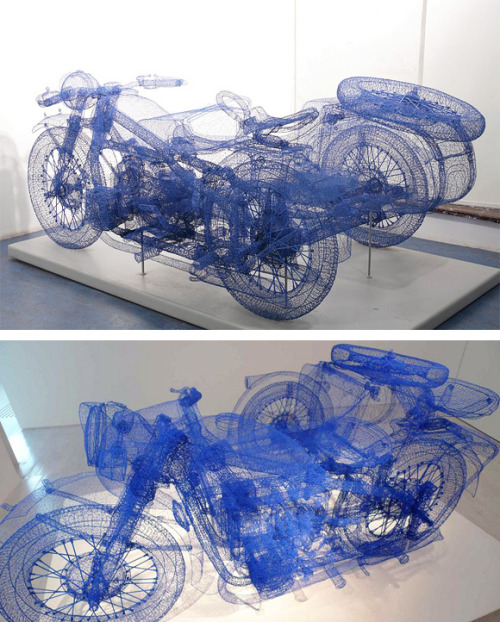devidsketchbook-art:  The Steel Wire Sculptures Of Shi Jindian