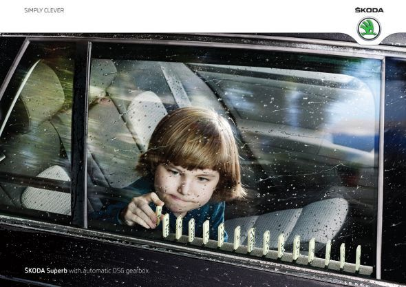 Skoda Superb with automatic DSG gearbox.  Advertising Agency: Change Integrated, Warsaw, PolandCreative Director: Jakub KorolczukArt Director / Photographer: Sunil NairCopywriter: Robert Olszewski (via Skoda Superb: Domino | Ads of the World™)