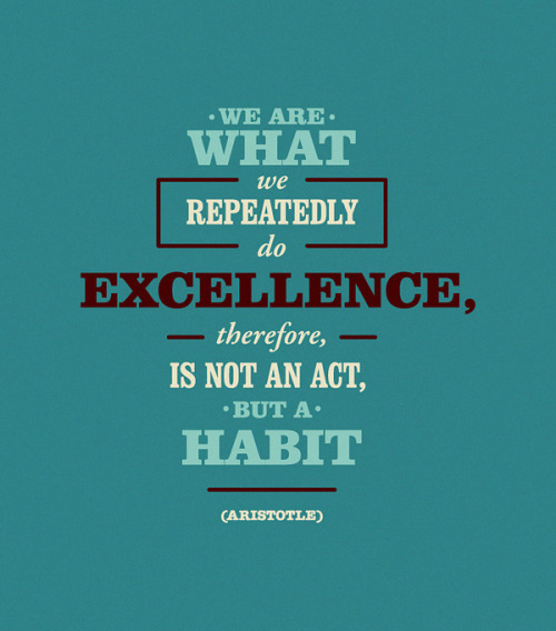 We are what we repeatedly do. Excellence, therefore, is not an act, but a habit.