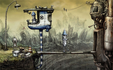 I just wrote about the cute, and also shockingly melancholy, Machinarium, which I finished playing last night. In it…  You get to flood a room, electrocute a (robot) cat, break out of prison, play arcade games, solve bizarre puzzles, and see a Jewish robot, for some reason.  It was also my first try at that strangely returning genre, the point-and-click adventure game.