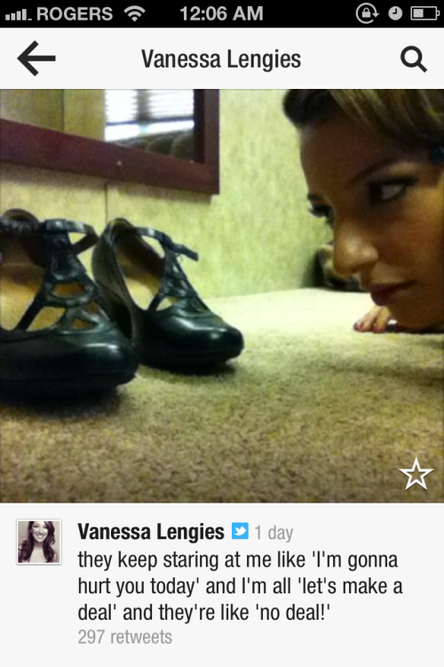 RenateHarris:  Vanessa Lengies from her twitter regarding the shoes she wears for filming the nationals episode.