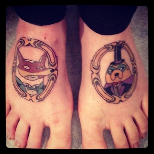 adventuretime:  And Prince Hotbod joins Randy Butternubs in tattoo form. For eternity. adventuretimefan:  My Mathematical Finn and Jake tattoos. I could not be happier with them :D http://www.tumblr.com/blog/blameitonourbodies submitted by blameitonourbodies   I would absolutely get an Adventure Time tattoo. Either BMO, or Finn battling The Lich.