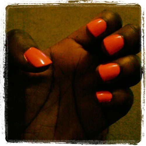 Hot pink nails (Taken with instagram)