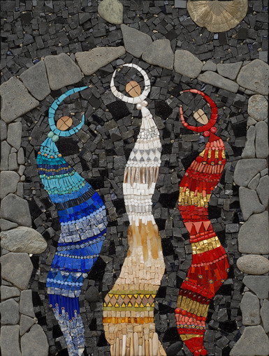 "flingingmud:  (via Irina Charny Mosaics)  Ancient Airs and Dances II 18"" x 24"" marble, smalti, gold, pyrite sun, glass, beads, millefiori, stones 2007"
