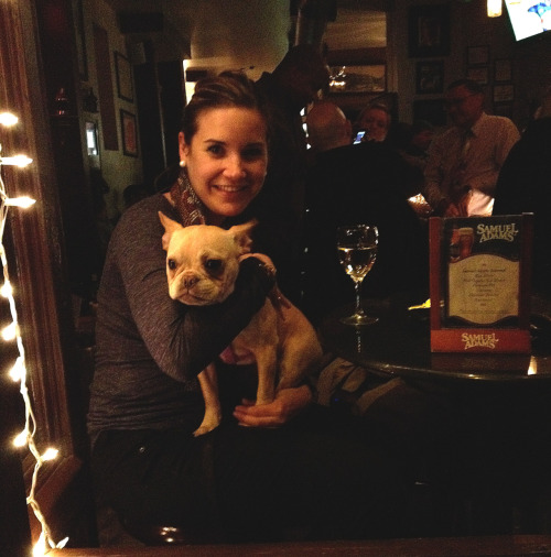 Meet Bijoux the happiest seventh month old puppy at Destination Bar in Alphabet City. She's with Kate, the lady that picks up her poo.
