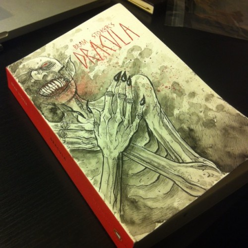 templesmith:Dracula novel with original painted cover. Up on 78SQUID.bigcartel.com now. One of the last blank covered books I