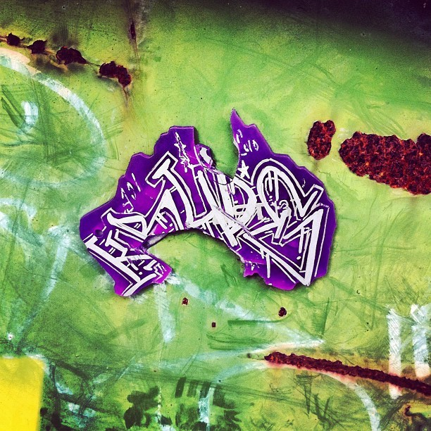 Found this stuck to a dumpster. #Krude #tag #graffiti #MelbourneGraffiti (Taken with Instagram at Snowgum Moorabbin)