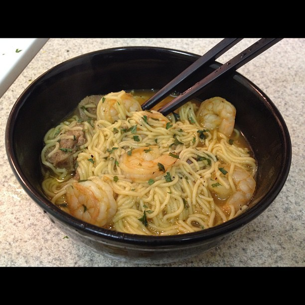 #dinner! Homemade shrimp and sausage noodle soup 🍜 No Ramen noodles over here! Mmmm!  (Taken with instagram)