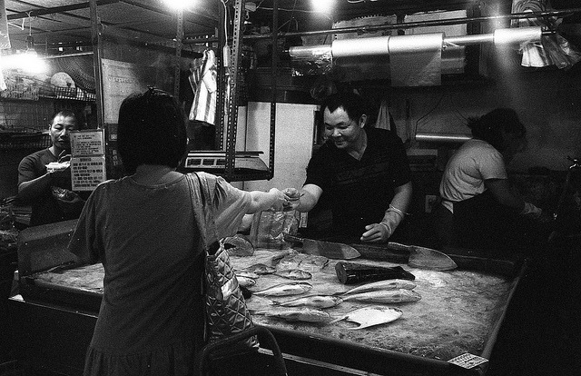 The fish vendor on Flickr.Kodak Tmax400@1600, Zorki 4 Jupiter 12
