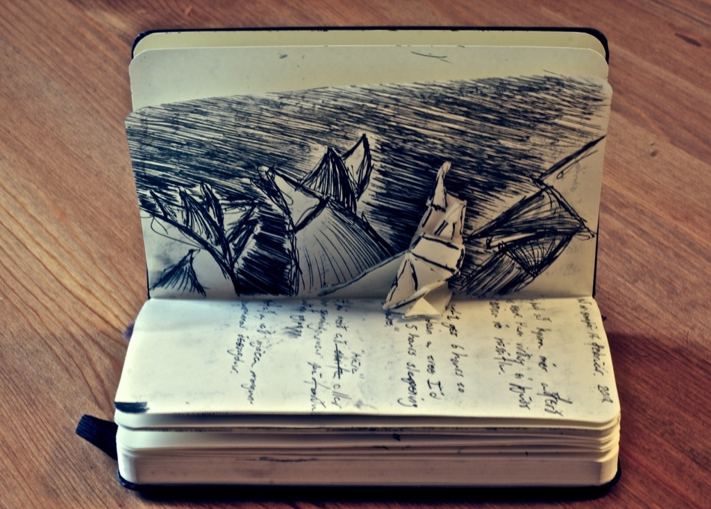 "fuckyeahmoleskines:  My Moleskine is filled with boring unreadable doodles & thoughts on game & sound design. Nothing but lousy quick sketches of primitive shapes, out of context words like ""Go crazy with amps"" or ""agile"" which I am not sure anymore, thanks to time, what were supposed to remind me of. But sometimes I try to spice it just a tiny bit up with some lousy origami."