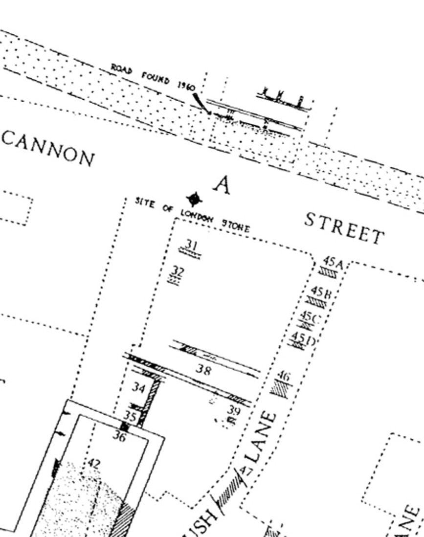 Location of London Stone Roman Cannon Street - Roman Level [can't find the sodding reference at the moment…]