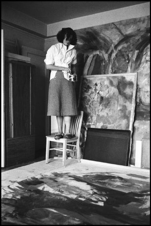 NEW YORK CITY—Painter Helen Frankenthaler contemplates an abstract expressionist painting in her studio, 1957. © Burt Glinn / Magnum Photos