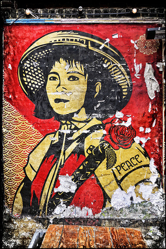 stencils:  PEACE by Shepard Fairey (by mickyh2011)