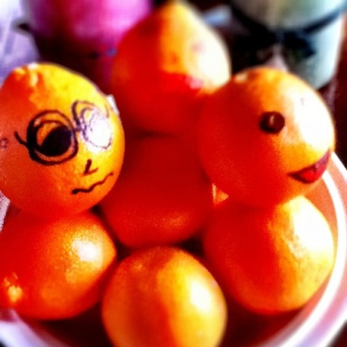 In the Harman family we draw on our oranges…  (Taken with instagram)