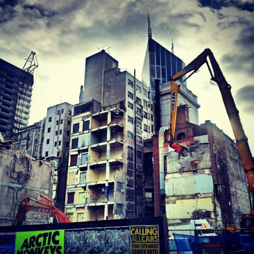 Back when there was still something left of Myer Lonsdale Street… #Myer #Melbourne #emporium #demolition  (Taken with instagram)