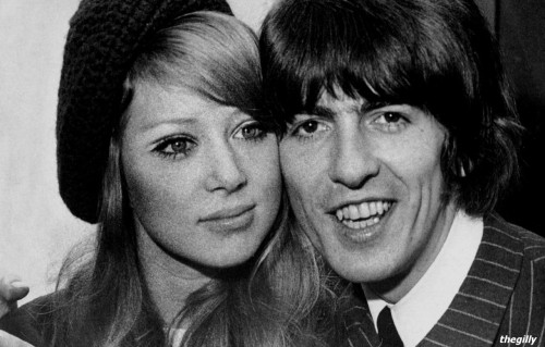 George and Pattie at a press reception at NEMS, London. 22 January 1966, the day after their wedding.