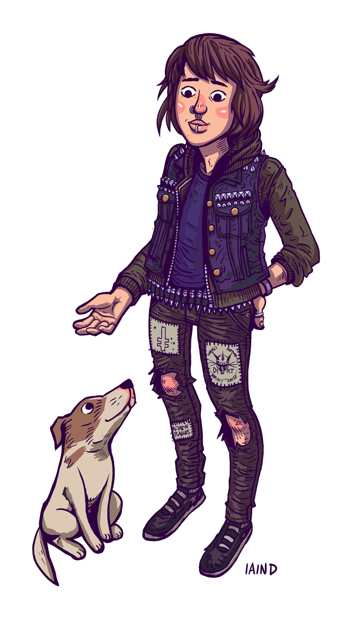 First of a few Punx N Pups I'm doing of some tumblr peeps. This one is of my buddy Caroline and their buddy Jessie. They're awesome so go follow!