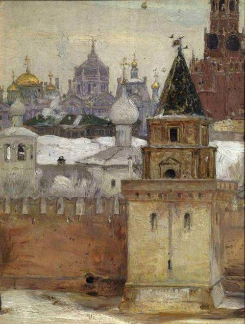 zolotoivek:  Mikhail Nesterov - The Kremlin in Winter, 1897