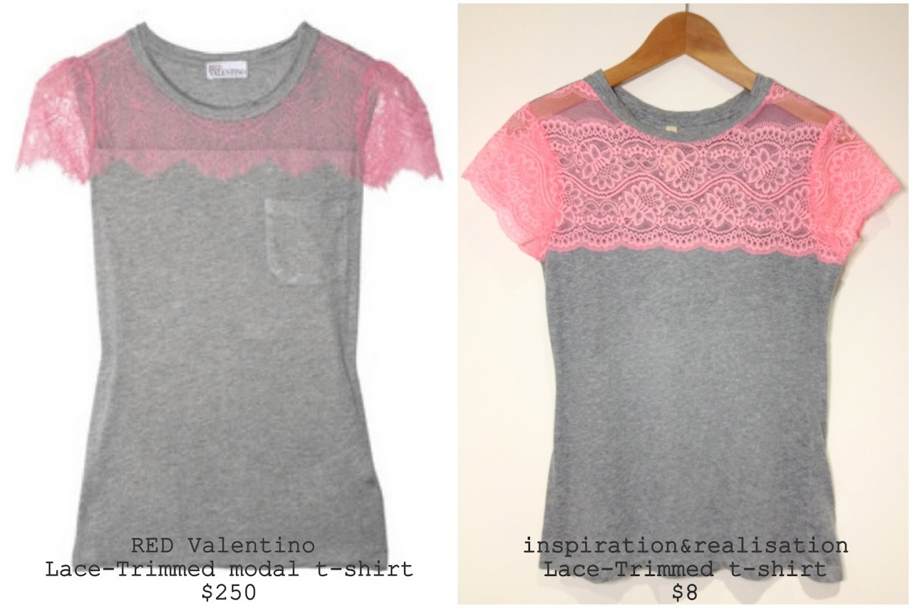 truebluemeandyou:  DIY Red Valentino Lace Trimmed Modal T-Shirt. Another easy Red Valentino knockoff tutorial from inspiration & realisation here. *See my most popular clothing post and inspiration & realisation's most popular post ever: DIY Red Valentino Bow Back Cotton Jersey T-Shirt here.