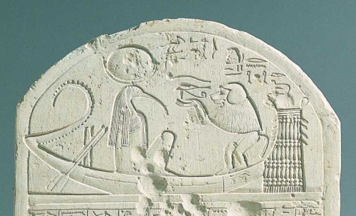Fig. 4. Thoth seated in the crescentshaped boat of the Moon being presented with the Wedjat-Eye by a baboon, the animal form of himself. The boat floats above the glyph 'Heavens,' and the driftnet ahead suggests that the Moon-boat is flowing with the currents of Heaven. (Nile boats used a driftnet going downstream to the sea and a sail going upstream to the south). The curved stern with notches carved into it, representing broken-off palm leaves, is the sign for 'years,' with each broken-off leaf counting as a day. Sandstone stele of Neferrenpet. Found in Deir el Medina. c. 1320 BC. Egyptian Museum, Turin. (vía Jules Cashford, The Moon and Time)