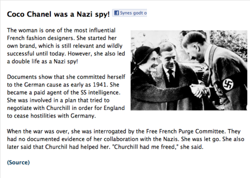 Chanel as an agent of the SS. (Shutzstaffel)