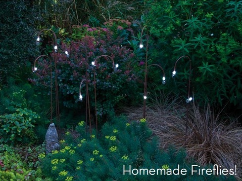 DIY Garden Fireflies. Create a garden full of fireflies using magnets, 3V lithium coin batteries and 10mm LED bulbs (shop around locally and especially online for the best prices). Tutorial from Curbly here.
