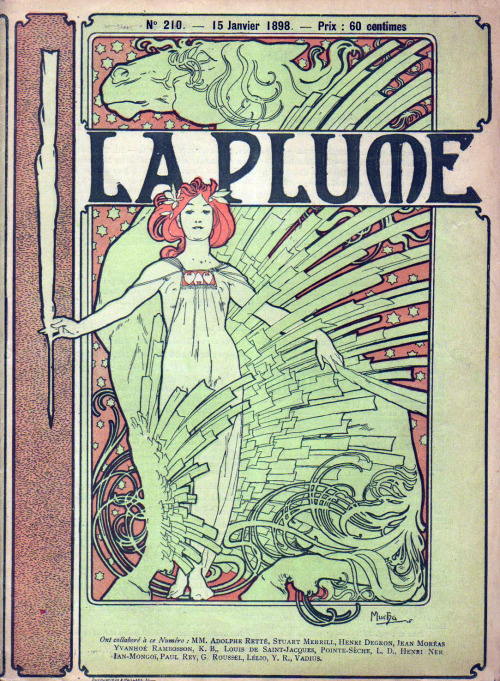 pallas-athena:  ragingbitchfest:  zitterberg:  1898 La Plume by Mucha  I really love that most of Mucha's women have double chins.  THERE'S A MUCHA BLOG?!  FUCK YEES.