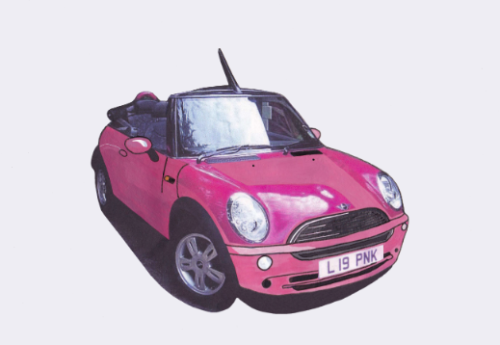 Pink Mini Convertible Illustration
