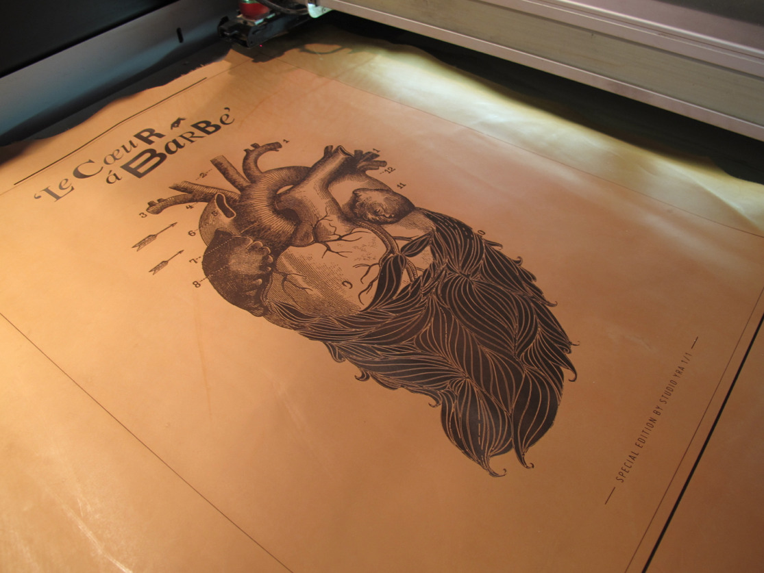 Absolutely gorgeous large format laser engraved leather posters (A1 size) we did for Lina Meier!