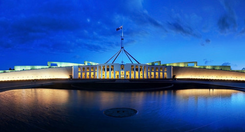 Parliament House Canberra Dusk Panorama by JJ Harrison on Flickr.
