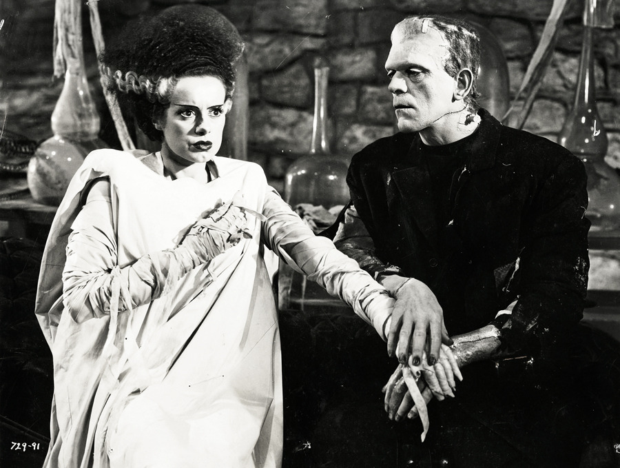 vintagegal:  Elsa Lanchester and Boris Karloff in Bride of Frankenstein (1935)